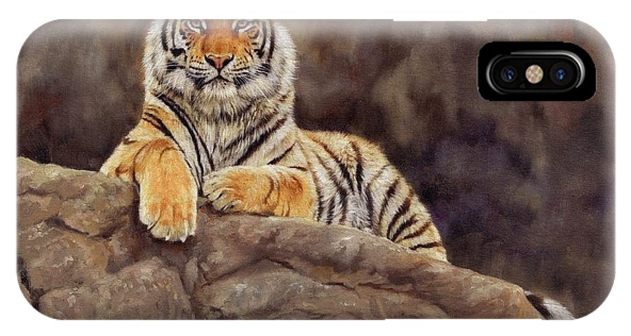 Tiger IPhone X Case featuring the painting Tiger by David Stribbling