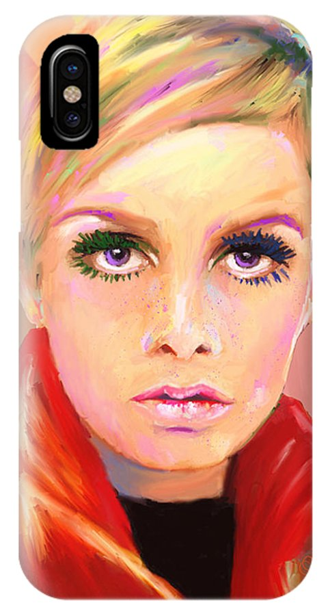 Twiggy IPhone X Case featuring the mixed media Twiggs by G Cannon