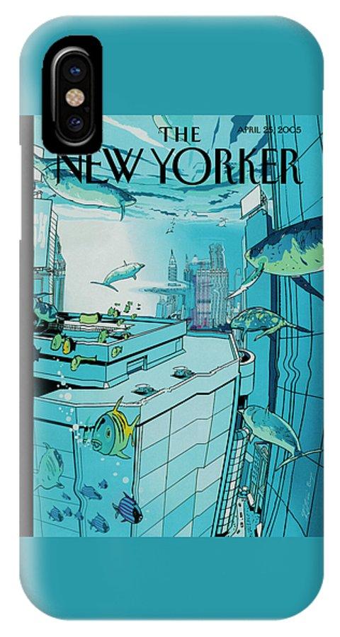 120831 120831  Iba Istvan Banyai  Nature Architecture Urban Skyscrapers Environment IPhone X Case featuring the painting New Yorker April 25th, 2005 by Istvan Banyai