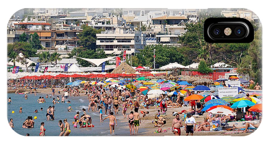 Beach; Varkiza; Sea; Sand; People; Swim; Swimming; Sunbathing; Suntanning; Tanning; Relaxing; Relaxation; Umbrellas; Parasols; Sunshades; Color; Colour; Colorful; Colourful; Crowd; Crowded; Populous; Athens; Attica; Attika; Attiki; Greece; Hellas; Greek; Hellenic; Europe; European; Holidays; Vacation; Travel; Trip; Voyage; Journey; Tourism; Touristic; Photos; Photograph; Photography IPhone X Case featuring the photograph Varkiza Beach by George Atsametakis