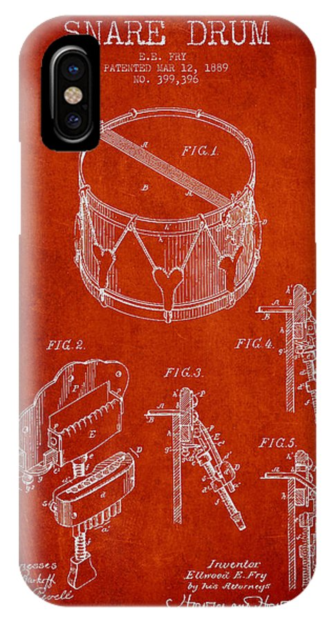 Snare Drum IPhone X Case featuring the digital art Vintage Snare Drum Patent Drawing From 1889 - Red by Aged Pixel