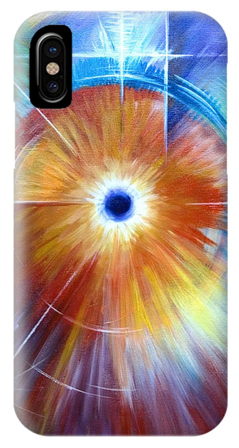 Abstract IPhone X Case featuring the painting Vortex by James Christopher Hill
