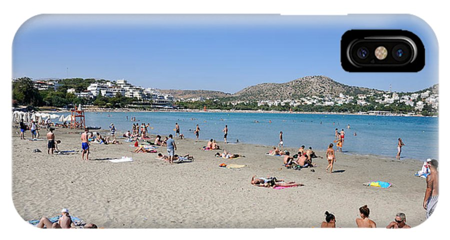Beach; Vouliagmeni; Sea; Sand; People; Swim; Swimming; Sunbathing; Suntanning; Tanning; Relaxing; Relaxation; Water; Clear; Transparent; Athens; Attica; Attika; Attiki; Greece; Hellas; Greek; Hellenic; Europe; European; Holidays; Vacation; Travel; Trip; Voyage; Journey; Tourism; Touristic; Photos; Photograph; Photography IPhone X Case featuring the photograph Vouliagmeni Beach by George Atsametakis
