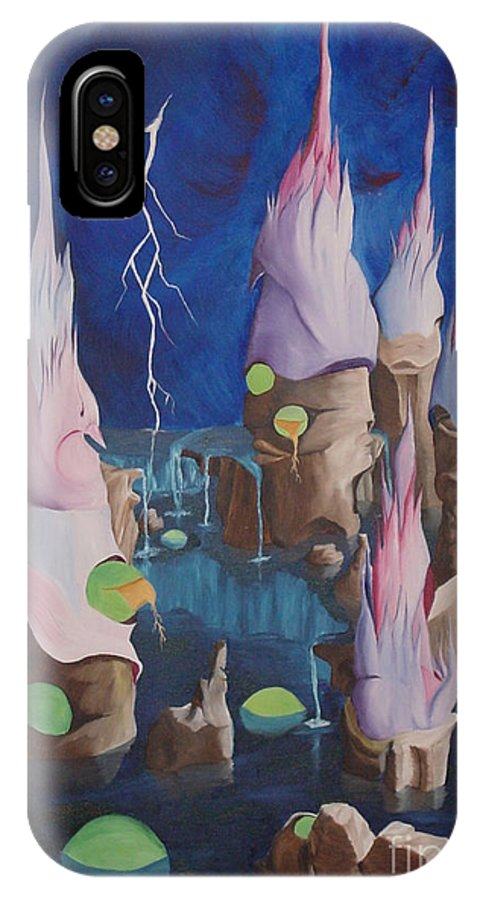Surrealism IPhone X Case featuring the painting Water World by Richard Dotson