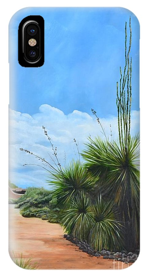 Landscape IPhone X Case featuring the painting Welcome by Mary Rogers