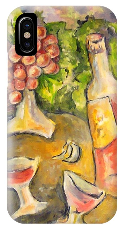 Grapes IPhone X Case featuring the painting Wine And Grapes by Joan Landry