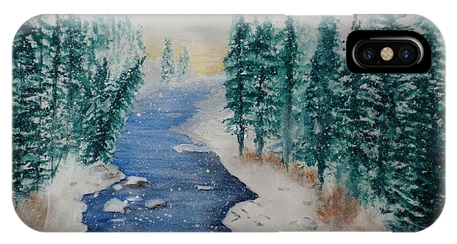 Watercolor IPhone X Case featuring the painting Winter River Scene by Linda Waidelich
