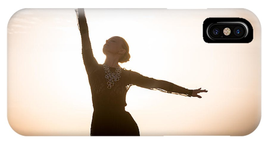 Africa IPhone X Case featuring the photograph Woman Dancing At Sunrise by Nikita Buida