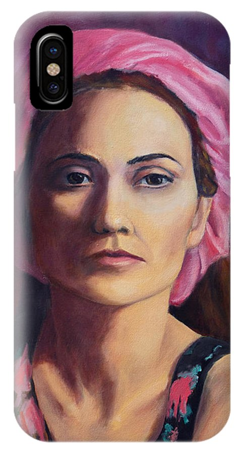 Portrait IPhone X Case featuring the painting Woman In A Pink Turban by Keith Burgess