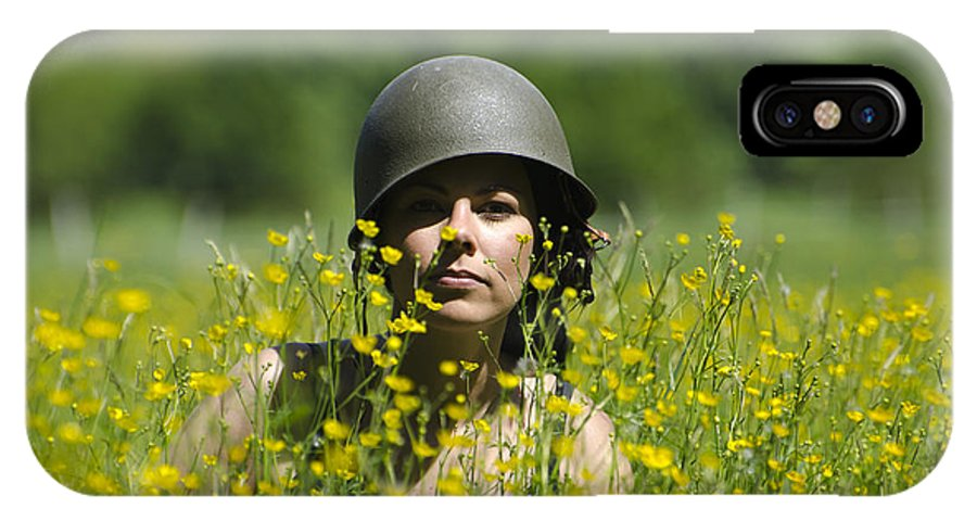 Woman IPhone X Case featuring the photograph Woman With Military Helmet by Mats Silvan