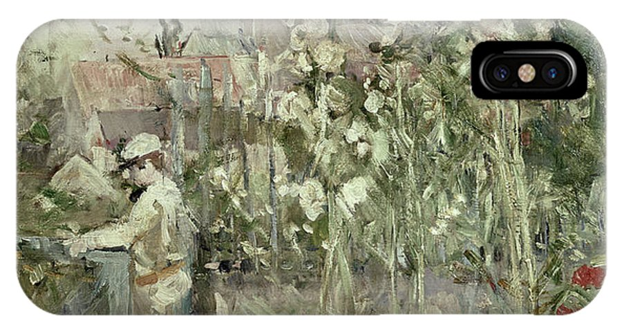 Hollyhock; Flowers; Garden; Impressionist; Gate; Summer IPhone X Case featuring the painting Young Boy In The Hollyhocks by Berthe Morisot