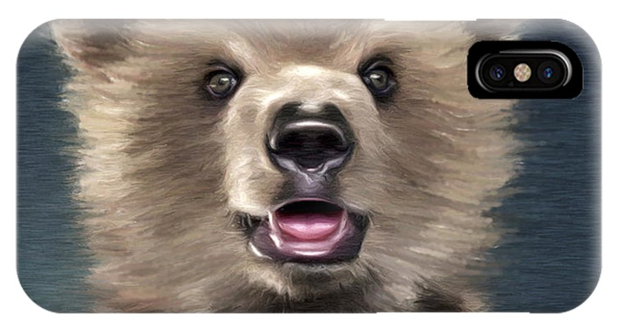 Bear IPhone X Case featuring the painting Young Brown Bear by Aleksey Tugolukov