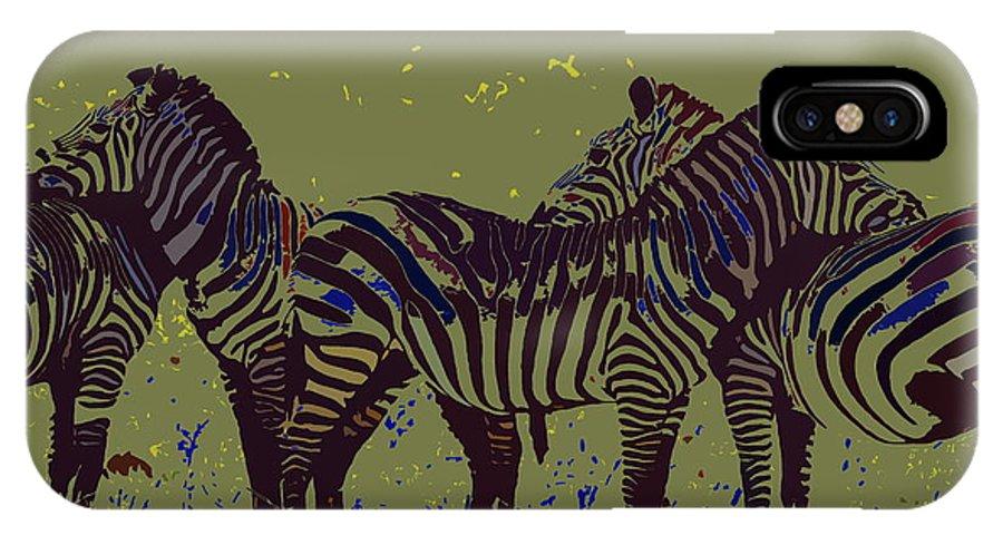 Zebra IPhone X Case featuring the digital art Zebras by Ronald Jansen