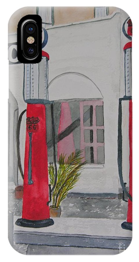 Gas Pumps IPhone X Case featuring the painting 20 Cents Per Gallon by Peggy Dickerson