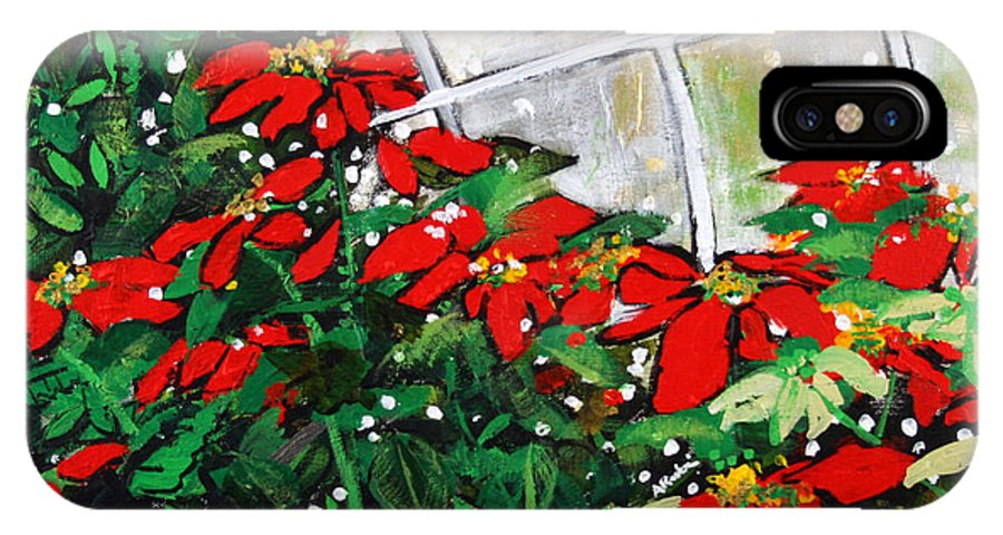 Poinsettias IPhone X Case featuring the painting 2013 010 Poinsettias And Dots Conservatory At The Us Botanic Garden Washington Dc by Alyse Radenovic