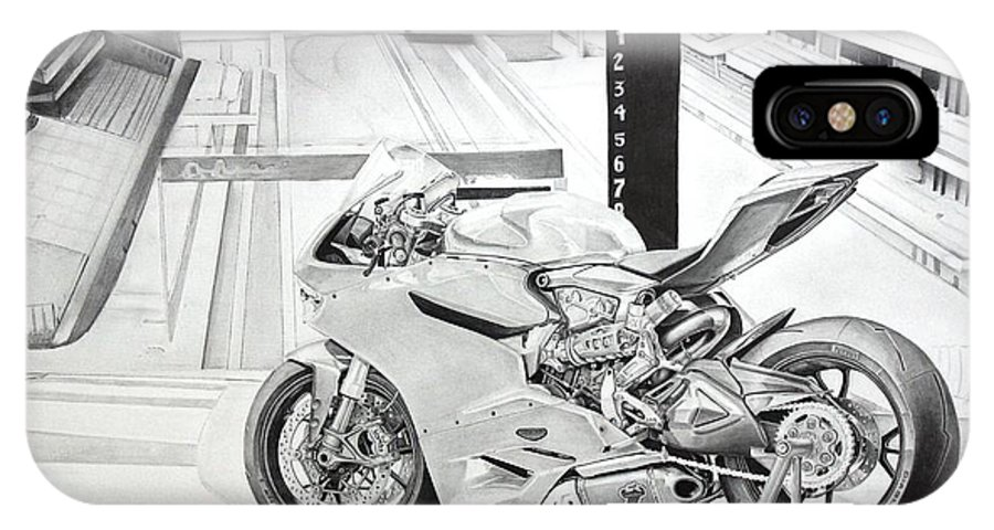 2014 1199 Ducati Panigale IPhone X Case featuring the drawing 2014 1199 Ducati Panigale by Skincandy Nine