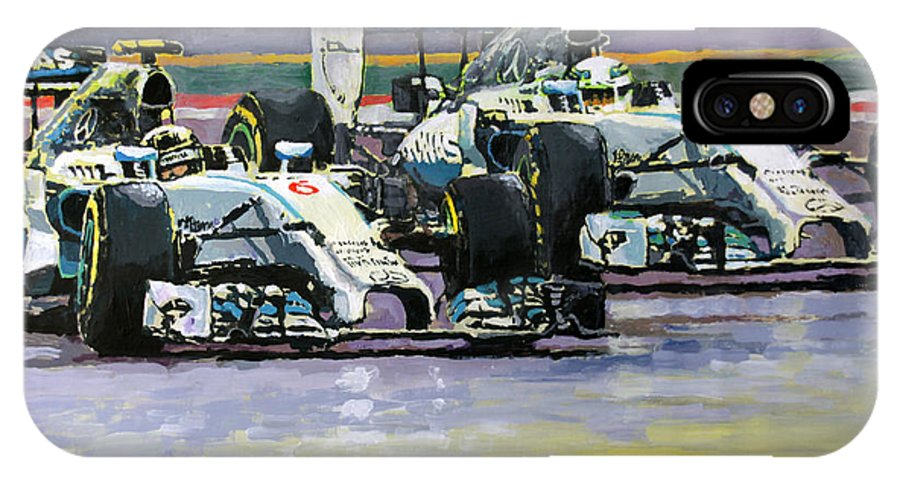 Acrilic IPhone X Case featuring the painting 2014 F1 Mercedes Amg Petronas Lewis Hamilton Vs Nico Rosberg 2014 by Yuriy Shevchuk