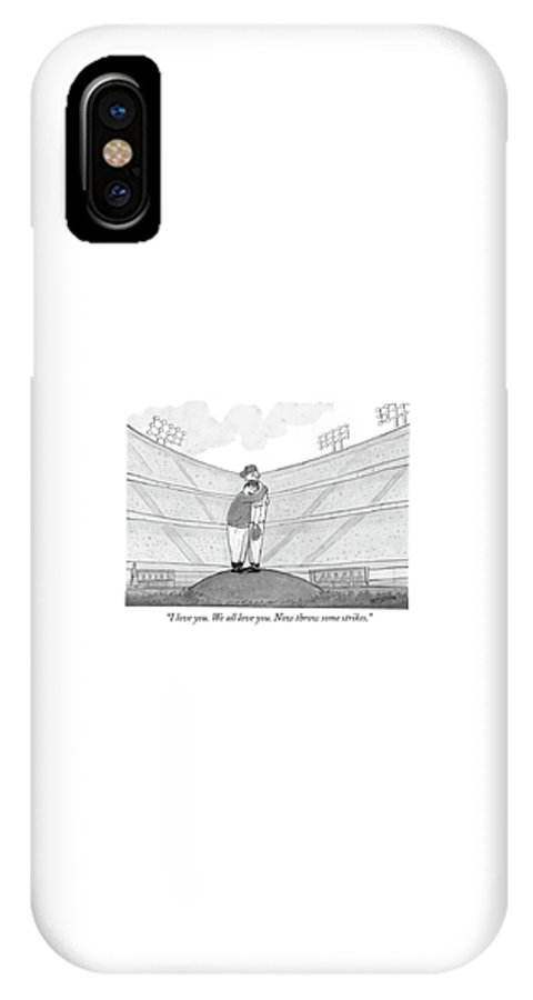 Support IPhone X Case featuring the drawing I Love You. We All Love You. Now Throw Some by Jason Patterson
