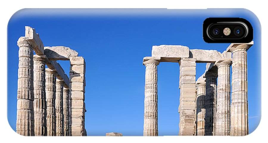 Poseidon; Neptune; God; Sea; Monument; Sounio; Sounion; Cape; Greece; Hellas; Greek; Hellenic; Europe; European; Temple; Ancient; Antiquity; Antiquities; Archaeological; Site; Pillar; Pillars; Holidays; Vacation; Travel; Trip; Voyage; Journey; Tourism; Touristic; Photos; Photograph; Photography IPhone X Case featuring the photograph Poseidon Temple by George Atsametakis