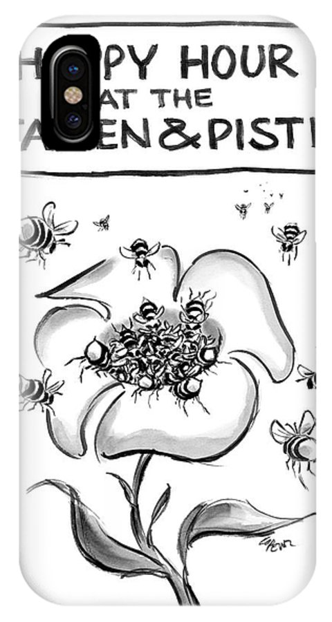 Spring IPhone X Case featuring the drawing New Yorker April 23rd, 2007 by Lee Lorenz