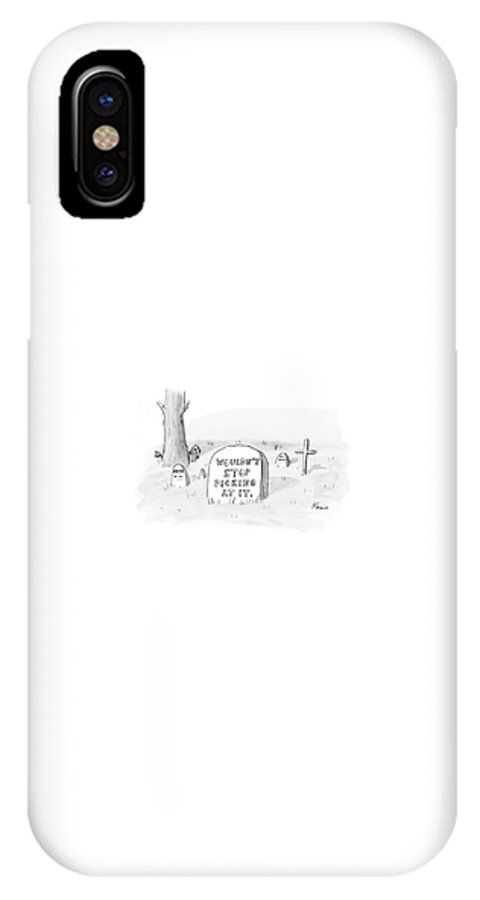 Tomb IPhone X Case featuring the drawing New Yorker October 16th, 2006 by Zachary Kanin