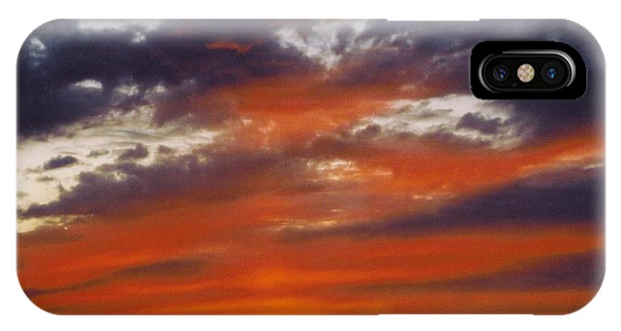 Gold And Streaked Orange Clouds Under Purple IPhone X Case featuring the photograph Sky Scape by Robert Floyd