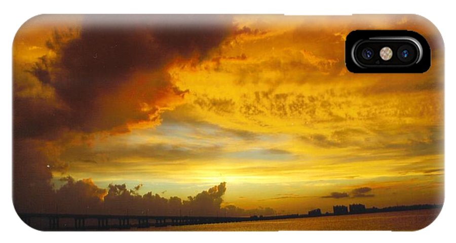 Golden Skies Cover Bridge Over Caloosahatchee River In Ft.myers IPhone X Case featuring the photograph Sky Scape by Robert Floyd