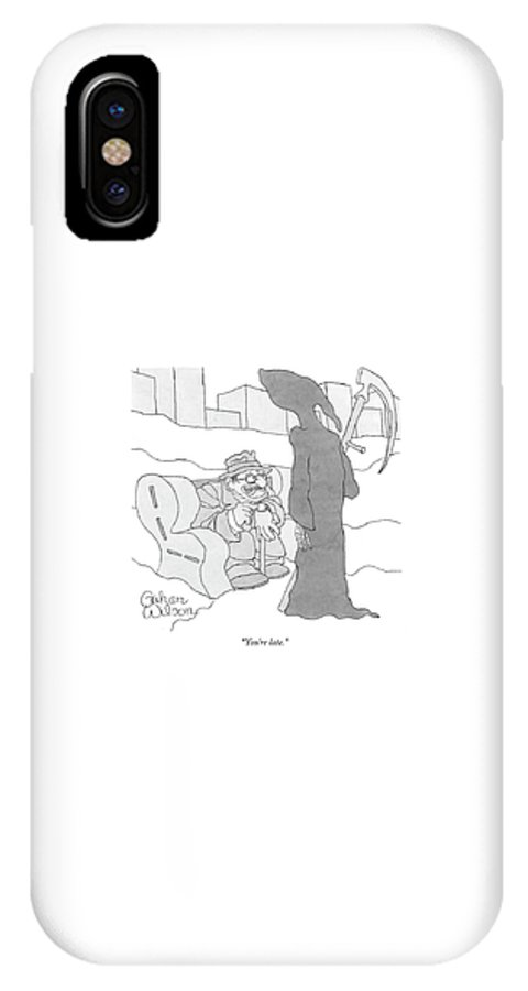 Grim Reaper IPhone X Case featuring the drawing You're Late by Gahan Wilson