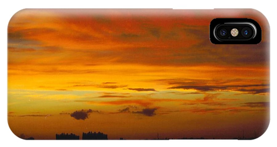 Gold And Orange Skies Looking North Over Caloosahatchee River In Ft.myers IPhone X Case featuring the photograph Sky Scape by Robert Floyd