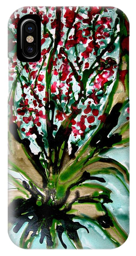 Floral Art IPhone X Case featuring the painting Heavenly Flowers by Baljit Chadha