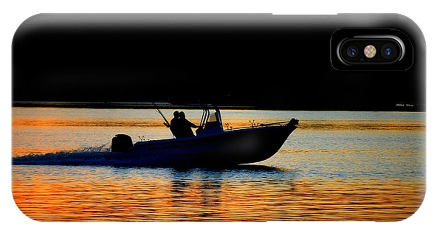 Sunset IPhone X Case featuring the photograph sunset at Lake Murray by William Copeland