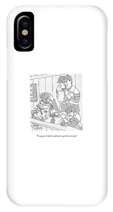 Baseball IPhone X Case featuring the drawing Every Year It's Harder And Harder To Get by Gahan Wilson
