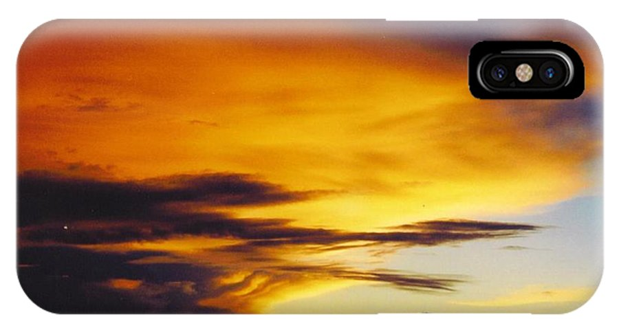 Golden Sunset Turns Clouds Yellow And Orange IPhone X Case featuring the photograph Sky Scape by Robert Floyd