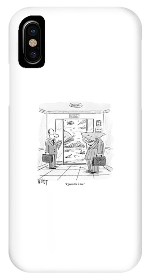 Interiors Sharks Talking   (shark Wearing A Suit Getting Out Of Elevator At The Sea Floor IPhone X Case featuring the drawing I Guess This Is Me by Christopher Weyant