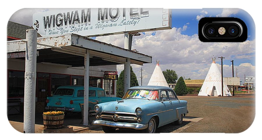 66 IPhone X / XS Case featuring the photograph Route 66 - Wigwam Motel by Frank Romeo