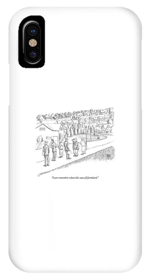 Rural Farms Pigs Talking Domestic Animals Real Estate  (pig IPhone X Case featuring the drawing I Can Remember When This Was All Farmland by Paul Noth