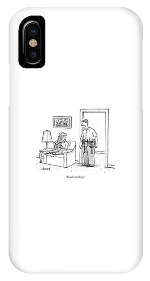 Interiors Workers Household Chores IPhone X Case featuring the drawing Break Something by Tom Cheney