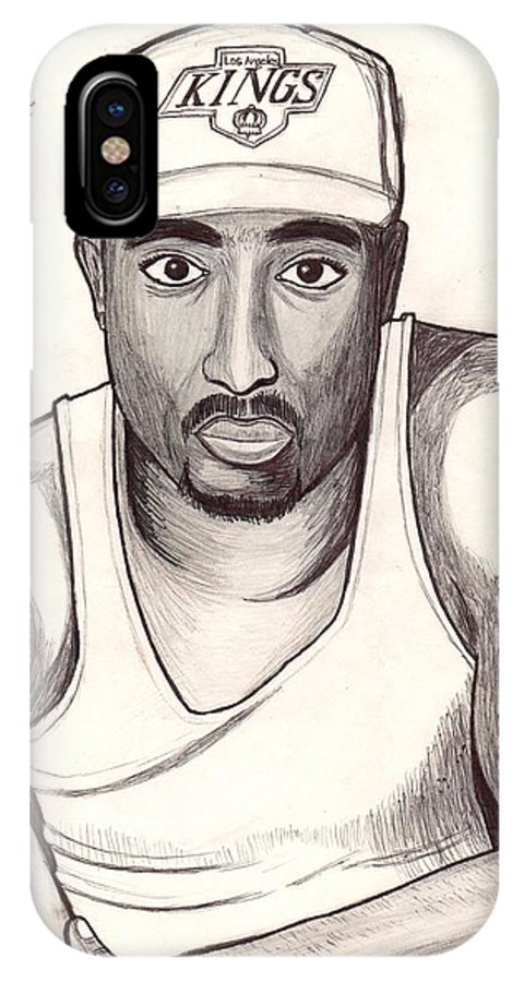 Artist IPhone X Case featuring the drawing 2pac Shakur by Odinel Pierre  junior