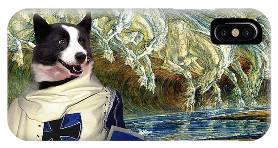Karelian Bear Dog IPhone X Case featuring the painting Karelian Bear Dog Art Canvas Print by Sandra Sij