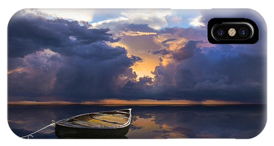 Boats IPhone X Case featuring the photograph Alone by Debra and Dave Vanderlaan
