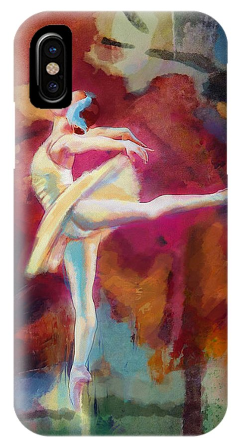 Catf IPhone X Case featuring the painting Ballet Dancer by Corporate Art Task Force