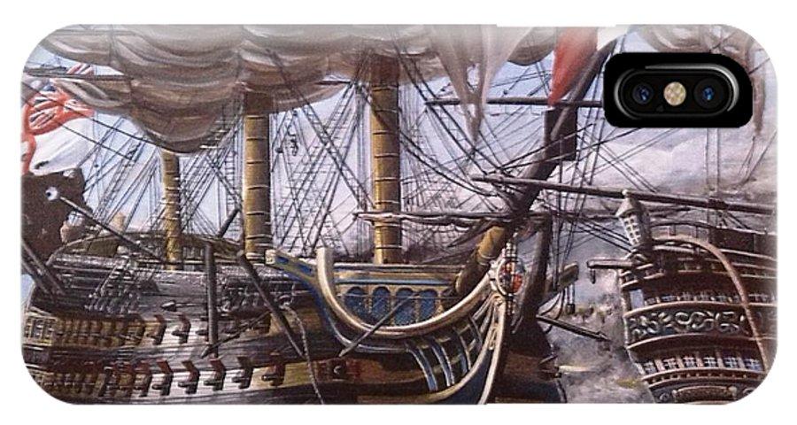 Battle Of Trafalgar IPhone X Case featuring the painting Battle Of Trafalgar by Richard John Holden RA