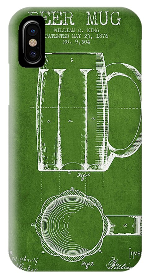 Beer Mug IPhone X Case featuring the digital art Beer Mug Patent From 1876 - Green by Aged Pixel