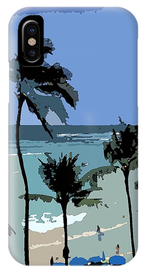 Umbrellas IPhone X Case featuring the digital art Blue Beach Umbrellas by Karen Nicholson