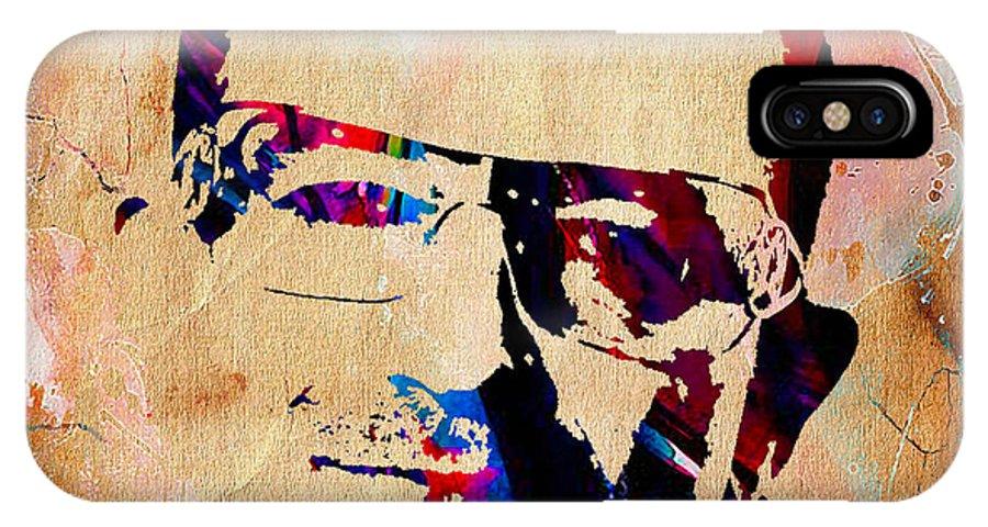 Bono IPhone X Case featuring the mixed media Bono U2 by Marvin Blaine