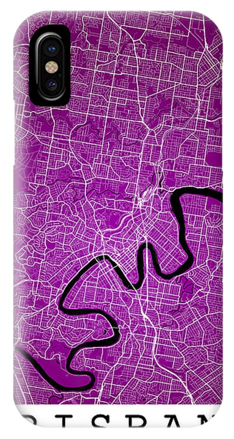 Road Map IPhone X Case featuring the digital art Brisbane Street Map - Brisbane Australia Road Map Art On Colored by Jurq Studio