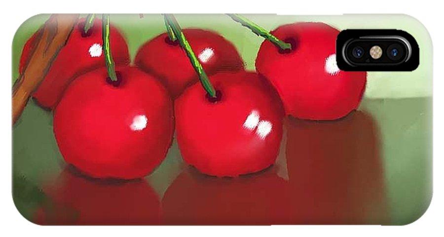 Cherries IPhone X Case featuring the digital art Cherries by Dessie Durham