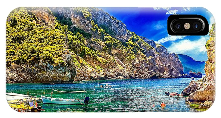 Cyprus IPhone X Case featuring the photograph Cliffside Coastline On Corfu by Dragomir Nikolov