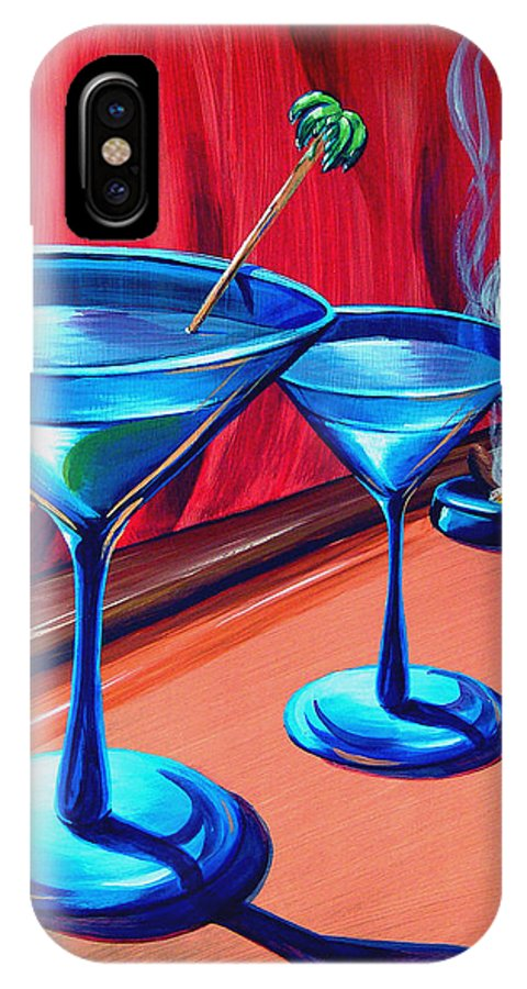 Painting IPhone X Case featuring the painting 3 Cobalt Martinis On Copper Bar by Michael Baum