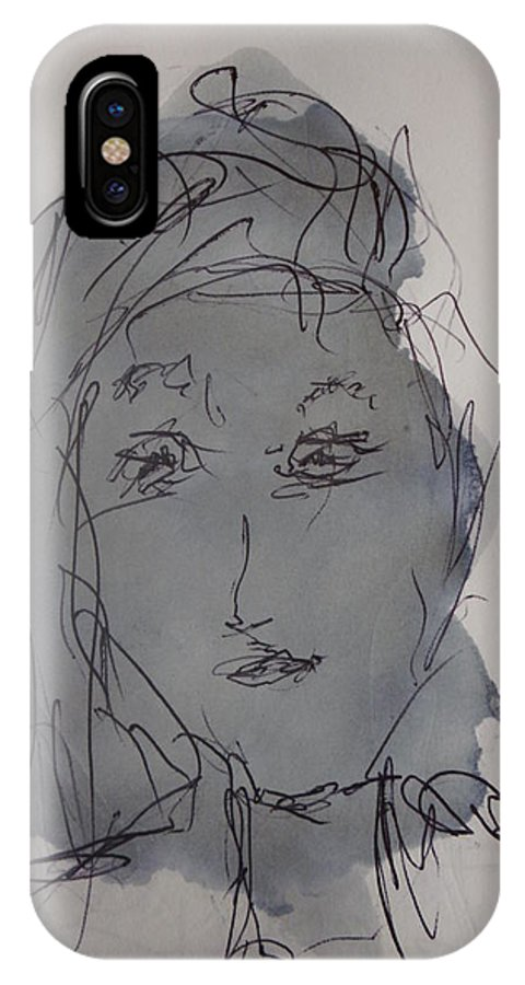 Doodle IPhone X Case featuring the drawing Composition 53 by Edward Wolverton